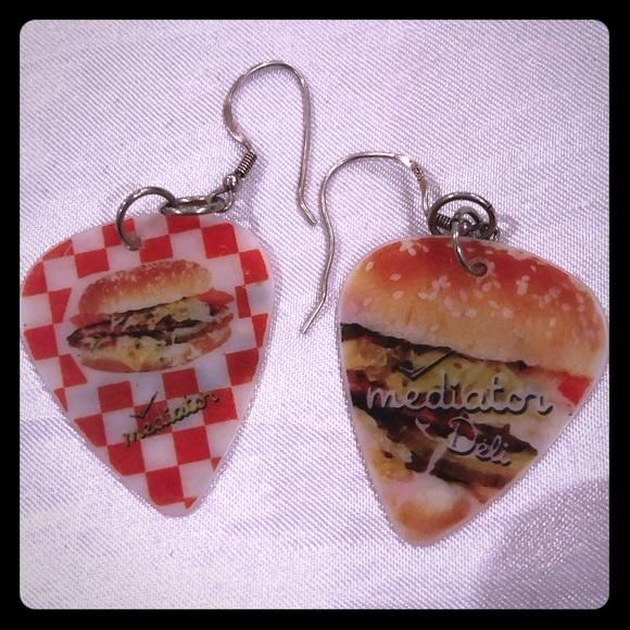 Vintage guitar pick earrings